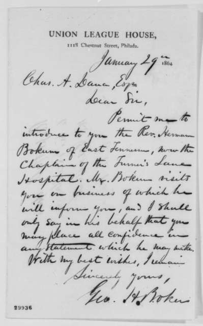 George H. Boker to Charles A. Dana, Friday, January 29, 1864  (Introduction; endorsed by Dana)