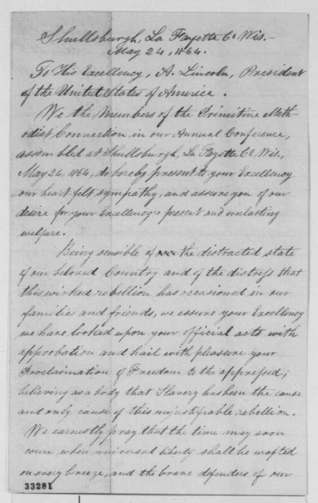 George Parker and Charles Dawson to Abraham Lincoln, Tuesday, May 24, 1864  (Send resolutions from Annual Conference of Primitive Methodists)