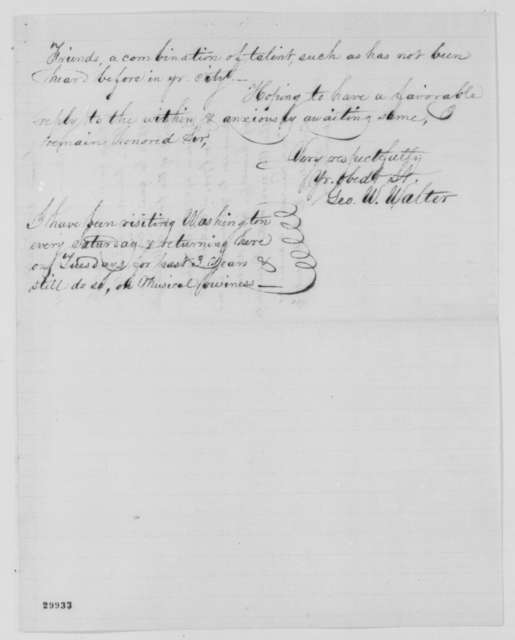 George W. Walter to Abraham Lincoln, Thursday, January 28, 1864  (Wants to give concert in Washington)