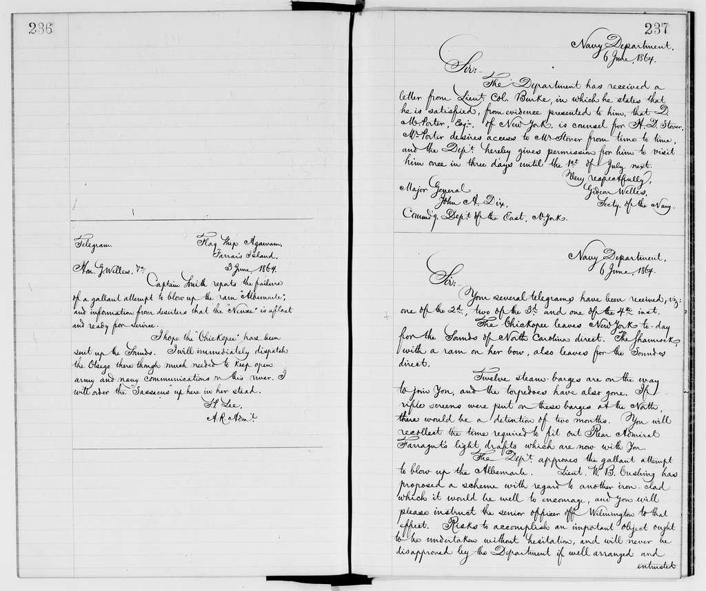 Gideon Welles Papers: Letterbooks, 1862-1869; 1864, Mar. 17-June 27