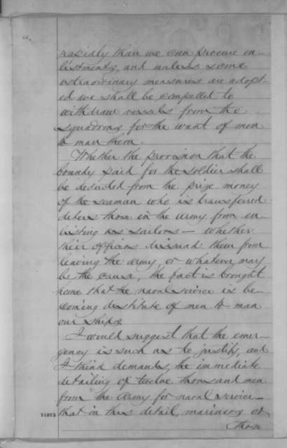 Gideon Welles to Abraham Lincoln, Friday, March 25, 1864  (Shortage of seamen in the navy)