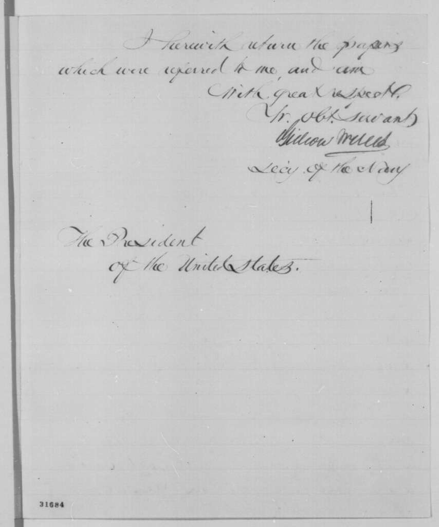 """Gideon Welles to Abraham Lincoln, Saturday, March 19, 1864  (Case of the steamer """"Volunteer"""")"""