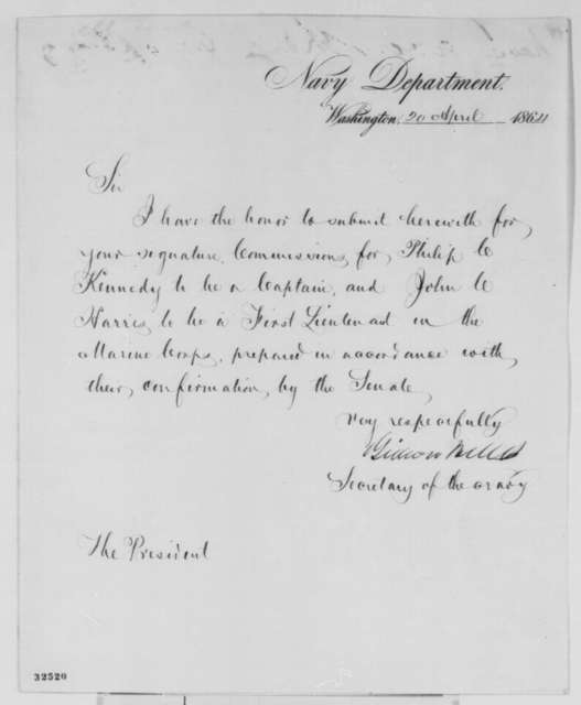 Gideon Welles to Abraham Lincoln, Wednesday, April 20, 1864  (Sends commissions)