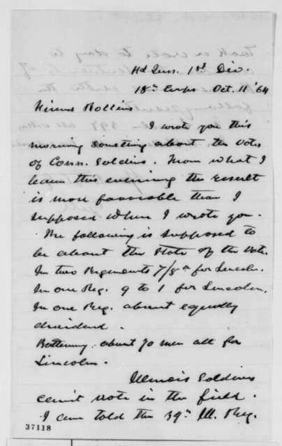 Gilman Marston to Hiram Rollins, Tuesday, October 11, 1864  (Soldier vote)