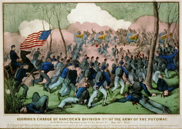 Glorious charge of Hancock's division (2nd) of the Army of the Potomac: at the battle near Spottsylvania Court House Va., May 12th 1864
