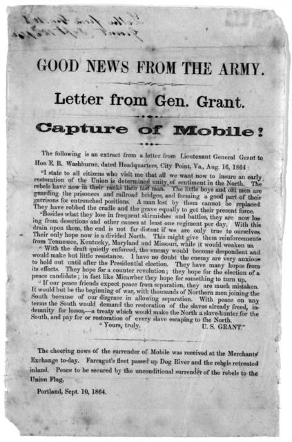 Good news from the army. Letter from Gen. Grant. Capture of Mobile ... Portland, Sept. 10 1864.