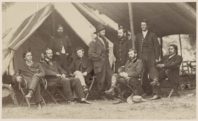 Grant and staff at City Point, summer 1864