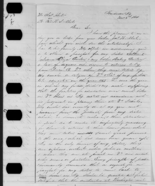 Grant Green to Abraham Lincoln, Tuesday, November 29, 1864  (Cover letter; with Frederick Overton to Charles Abert and W. S. Abert, Nov. 6, 1864)