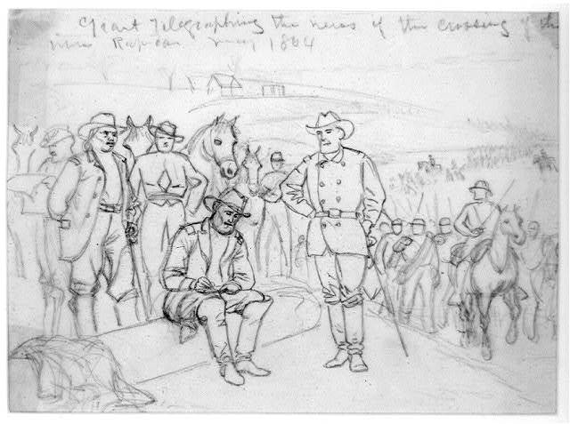 Grant telegraphing the news of the crossing of the river Rapidan--May 1864