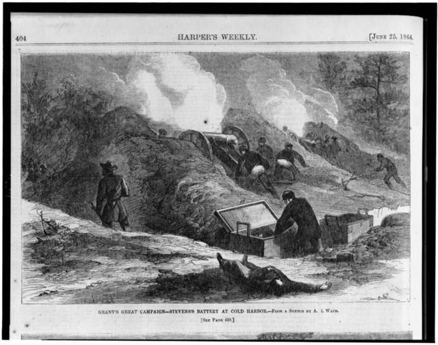 Grant's great campaign--Stevens's battery at Cold Harbor / from a sketch by A.R. Waud.