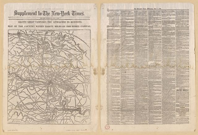 Grant's great campaign--the approach to Richmond, map of the country within thirty miles of the rebel capital / G. Woolworth Colton, N.Y.