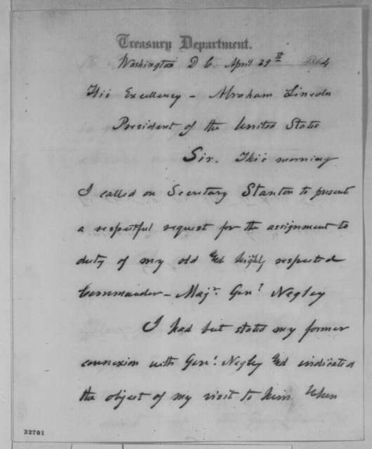 Granville Moody to Abraham Lincoln, Friday, April 29, 1864  (Unpleasant interview with Secretary Stanton)