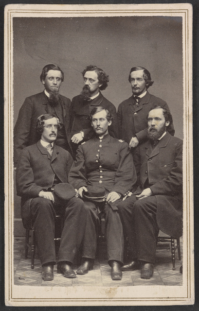 [Group of six men, one in Union uniform]