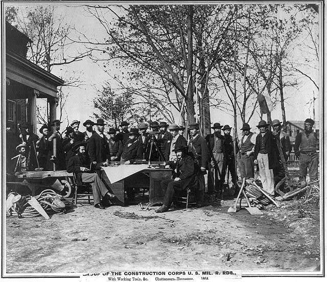 Group of the Construction Corps U.S. Mil. R. Rds., with working tools, etc., Chattanooga, Tennessee
