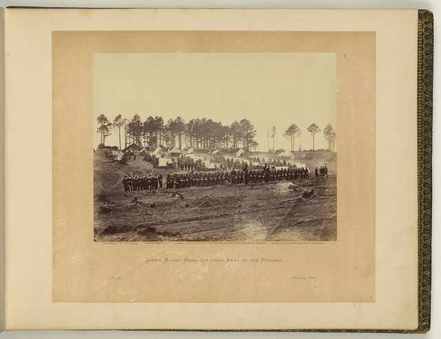 Guard mount, head-quarters, Army of the Potomac / negative by T.H. O'Sullivan, positive by A. Gardner.