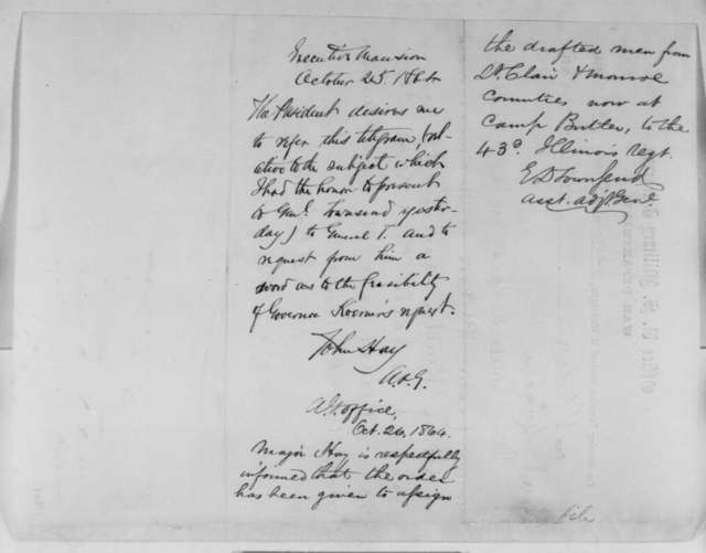 Gustave P. Koerner to Abraham Lincoln, Tuesday, October 25, 1864  (Telegram concerning military affairs at St. Louis; endorsed by John Hay and E. D. Townsend)