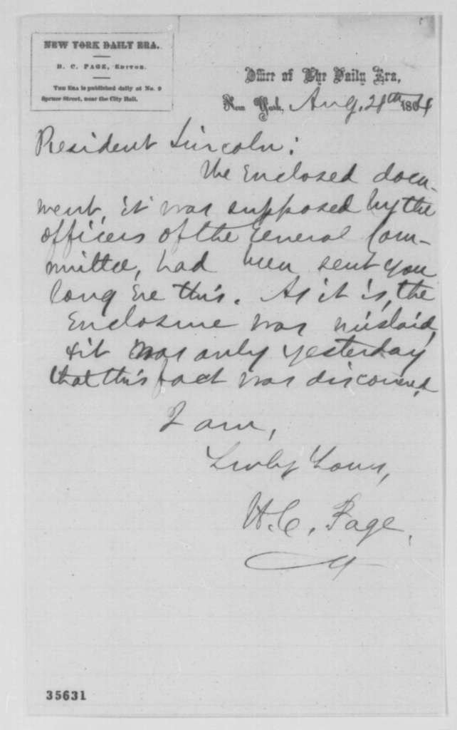 H. C. Page to Abraham Lincoln, Sunday, August 28, 1864  (Cover letter)
