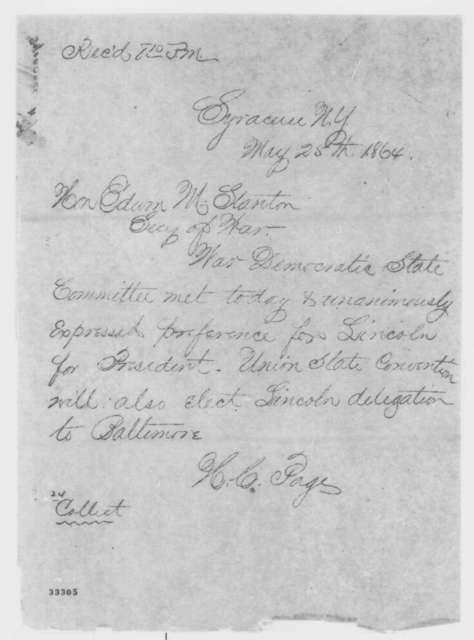 H. C. Page to Edwin M Stanton, Wednesday, May 25, 1864  (Telegram concerning New York politics)