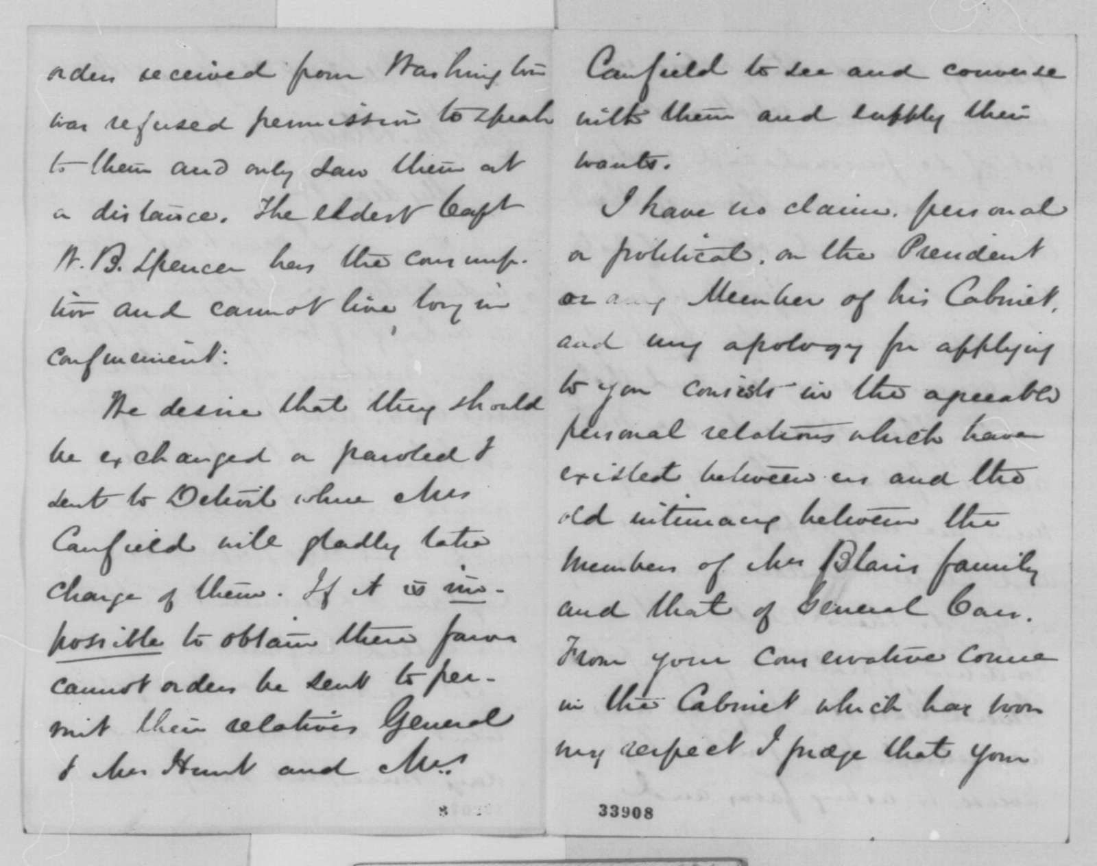 H. Ledyard to Montgomery Blair, Tuesday, June 21, 1864  (Release of Confederate prisoners)