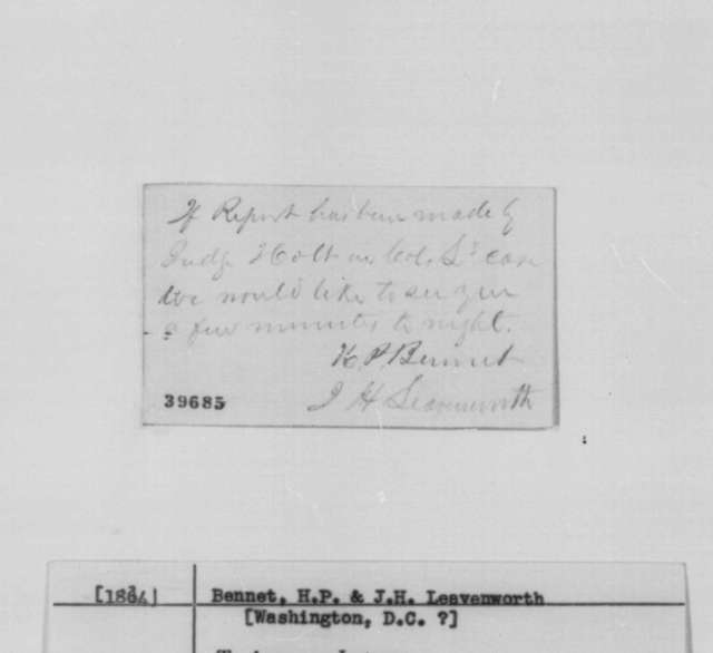 H. P. Bennet and Jesse H. Leavenworth to Abraham Lincoln, [1864]  (Calling Card requesting an appointment)