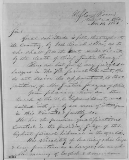 H. V. Willson to Abraham Lincoln, Thursday, November 10, 1864  (Recommends Noah Swayne for Chief Justice)