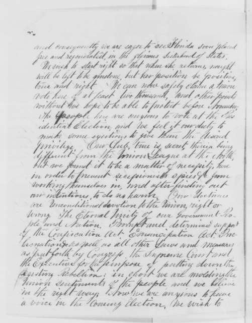 H. Walker Zentz to Abraham Lincoln, Monday, September 19, 1864  (Florida Unionists request election; with endorsements)
