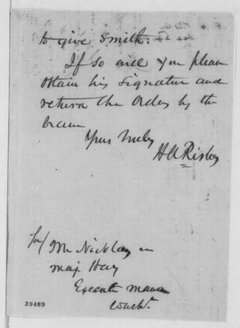 Hanson A. Risley to John G. Nicolay and John Hay, Friday, December 23, 1864  (Cotton trade)