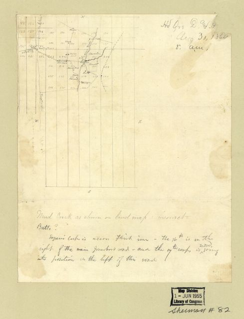 Hd. Qrs. D. and [A. Tenn.] Aug. 30, 1864, 8 a.m. : [Pencil sketch showing the location of the Headquarters, Department of the Tennessee, on Flint River near Jonesboro, Georgia].