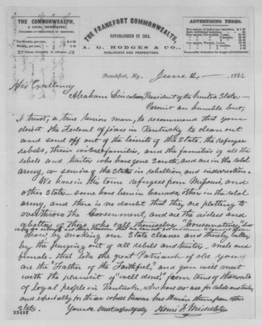Henri F. Middleton to Abraham Lincoln, Thursday, June 02, 1864  (Recommends expulsion of rebel refugees from Kentucky)