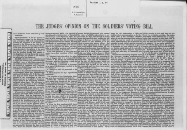 Henry A. Bellows, J. E. Sargent, and George W. Nesmith to Congress, Friday, September 23, 1864  (Printed opinion)