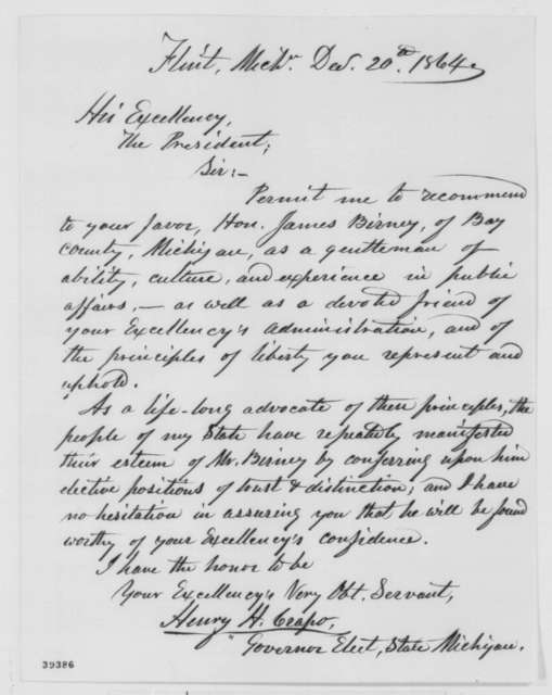 Henry H. Crapo to Abraham Lincoln, Tuesday, December 20, 1864  (Introduction)
