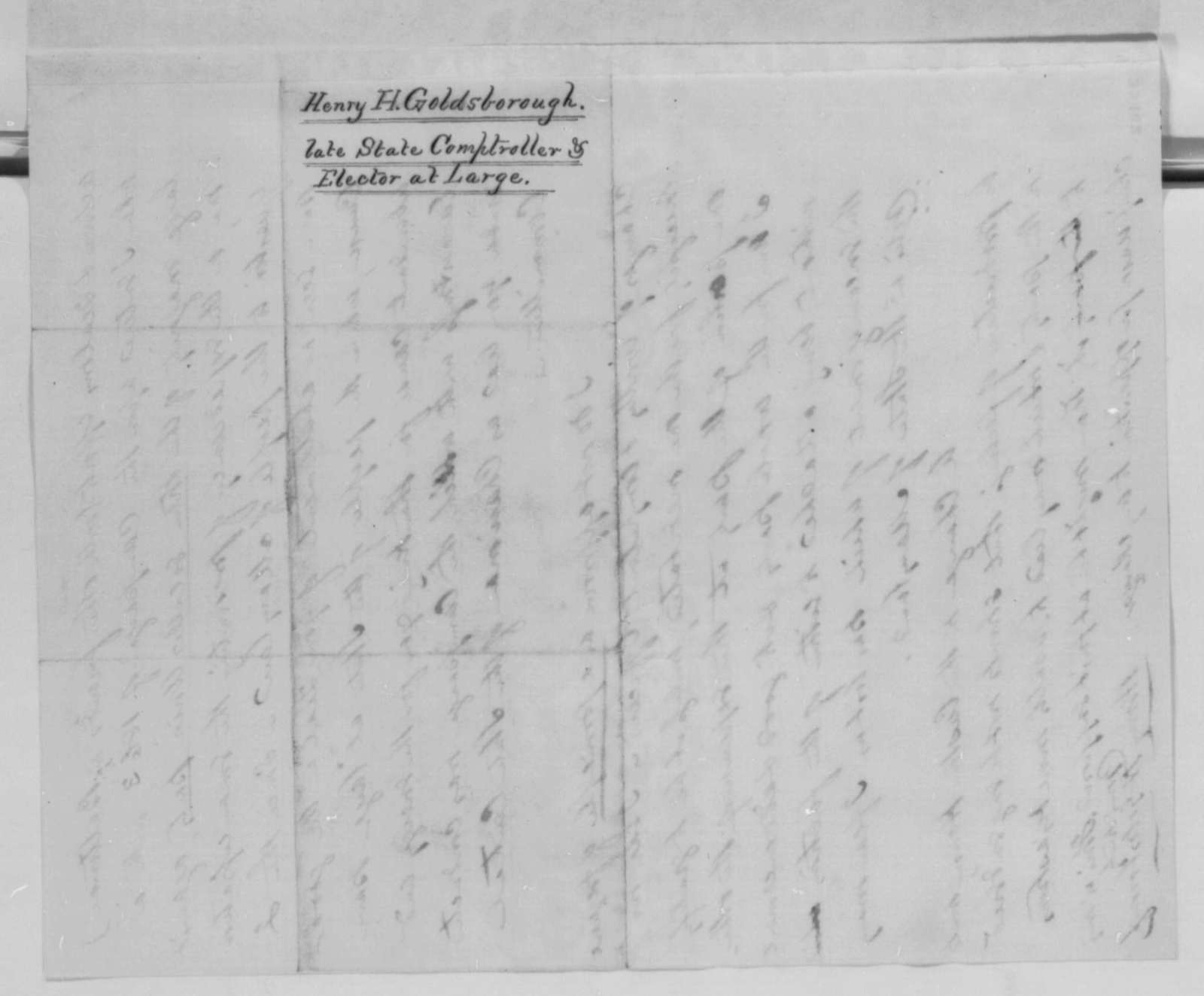 Henry H. Goldsborough to Henry W. Hoffman, Thursday, December 22, 1864  (Support)