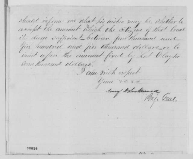 Henry H. Lockwood to Samuel B. Laurence, Tuesday, November 29, 1864  (Case of Ishmael Day; endorsed by Lockwood, Laurence and Lew Wallace)