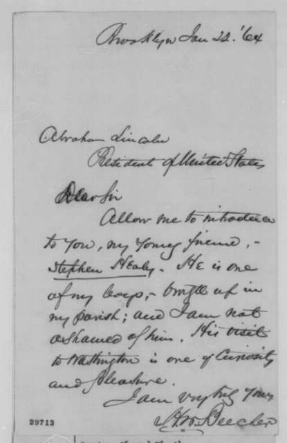 Henry Ward Beecher to Abraham Lincoln, Friday, January 22, 1864  (Introduction)