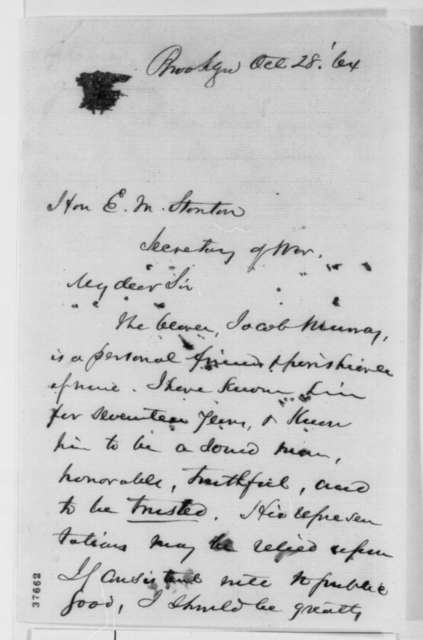 Henry Ward Beecher to Edwin M. Stanton, Friday, October 28, 1864  (Introduction)