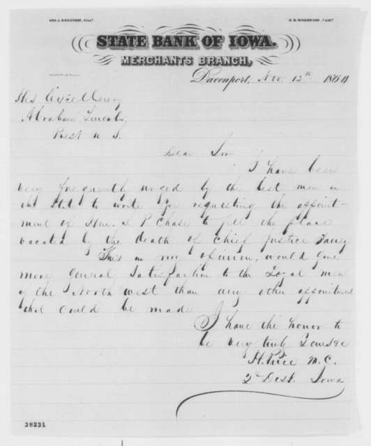 Hiram Price to Abraham Lincoln, Saturday, November 12, 1864  (Recommends Chase for Chief Justice)