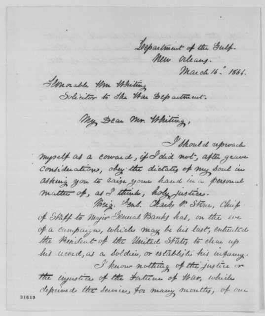 Horace Binney Sargent to William Whiting, Wednesday, March 16, 1864  (Writes on behalf of Charles P. Stone)