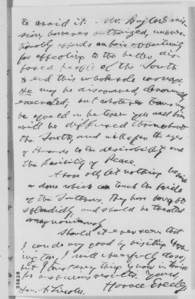 Horace Greeley to Abraham Lincoln, Monday, August 29, 1864  (Peace with the Confederacy)