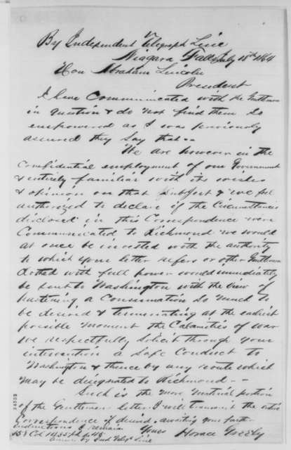 Horace Greeley to Abraham Lincoln, Monday, July 18, 1864  (Peace negotiations at Niagara Falls)