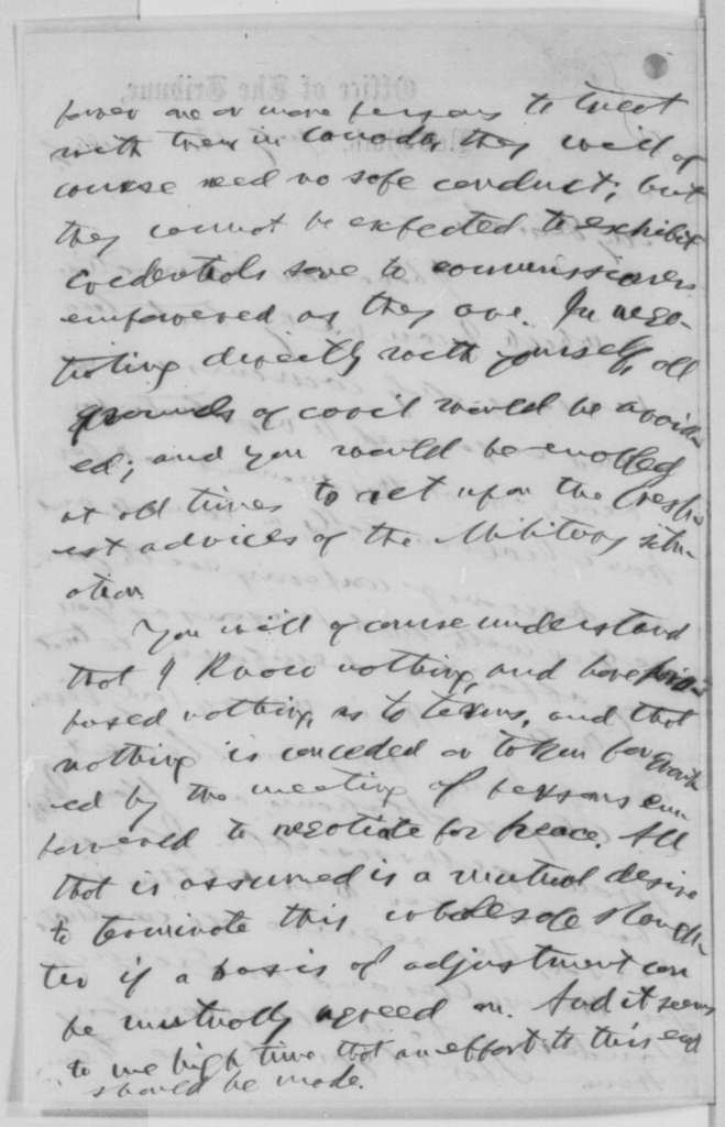 Horace Greeley to Abraham Lincoln, Wednesday, July 13, 1864  (Negotiations at Niagara Falls)