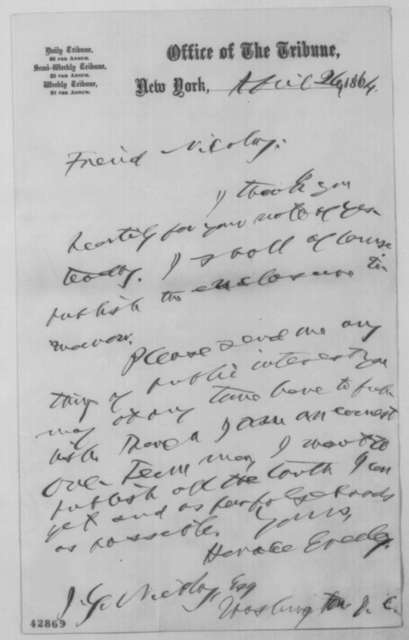 Horace Greeley to John G. Nicolay, Tuesday, April 26, 1864  (Publication of Nicolay's article on Martha Todd White)