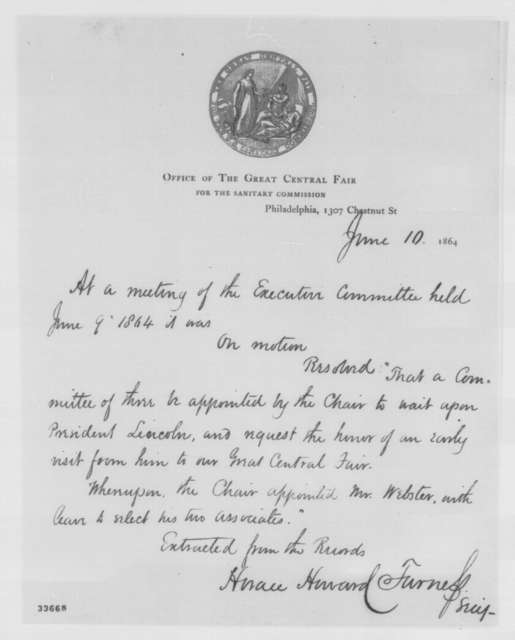 Horace H. Furness to Abraham Lincoln, Friday, June 10, 1864  (Meeting with delegation from Philadelphia Sanitary Fair)