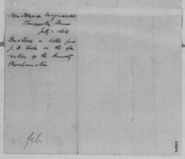 Horace Maynard to Abraham Lincoln, Friday, July 01, 1864  (Cover letter)
