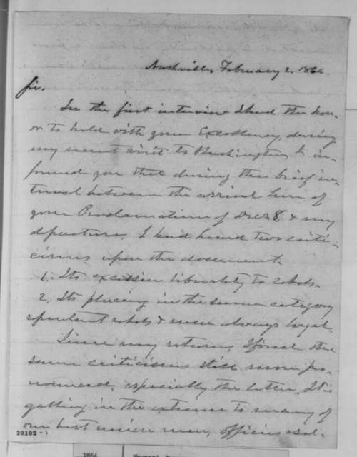 Horace Maynard to Abraham Lincoln, Tuesday, February 02, 1864  (Lincoln's Proclamation of Amnesty and Reconstruction)