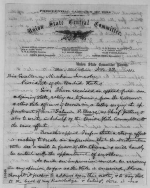 Horace Rublee to Abraham Lincoln, Wednesday, November 23, 1864  (Appointment of Chief Justice)