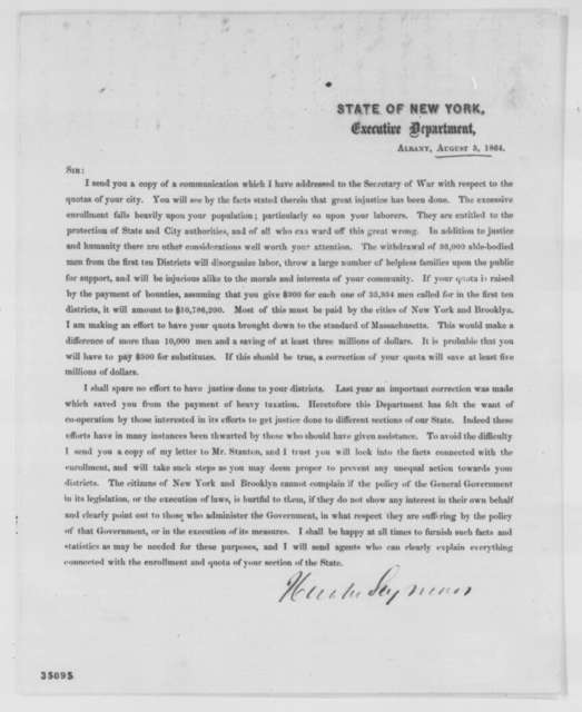 Horatio Seymour to New York State Recruiting Agents for Union Army, Friday, August 05, 1864  (Printed: Draft Quota)