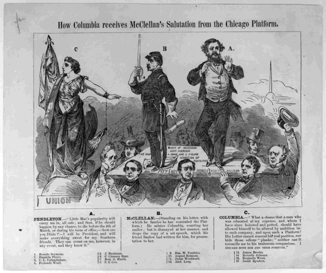 How Columbia receives McClellan's salutation from the Chicago platform. [July 1864].