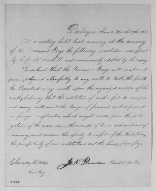 Iowa Militia, Governor's Greys, Tuesday, March 29, 1864  (Resolutions)