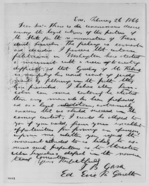 Isaac B. Gara to Simon Cameron, Friday, February 26, 1864  (Support for Lincoln's re-nomination; endorsed by Cameron)