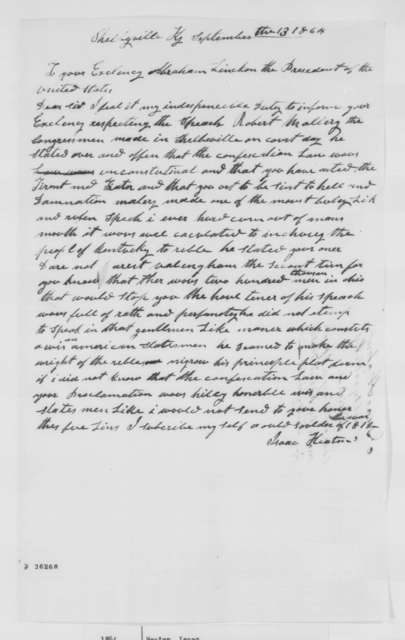 Isaac Heaton to Abraham Lincoln, Tuesday, September 13, 1864  (Speech made by Robert Mallory)